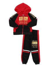 La Galleria - 2 Pc Girl Boss Color Block Zip Front Hoodie & Jogger Pants Set (2T-4T)-2509165