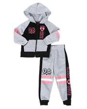 La Galleria - 2 Pc 08 Cute Zip Front Hoodie & Jogger Pants Set (2T-4T)-2508468