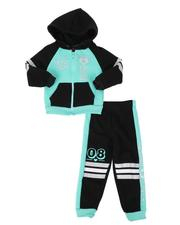 La Galleria - 2 Pc 08 Cute Zip Front Hoodie & Jogger Pants Set (2T-4T)-2508480