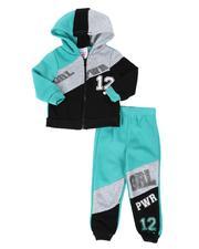 La Galleria - 2 Pc Grl Pwr Color Block Zip Front Hoodie & Jogger Pants Set (2T-4T)-2508492
