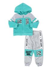 Girls - 2 Pc Sassy Girl Color Block Zip Front Hoodie & Jogger Pants Set (2T-4T)-2508504