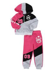 La Galleria - 2 Pc Love 09 Zip Front Hoodie & Jogger Pants Set (2T-4T)-2508520