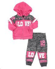 La Galleria - 2 Pc Marled Love Color Block Zip Front Hoodie & Jogger Pants Set (Infant)-2508524