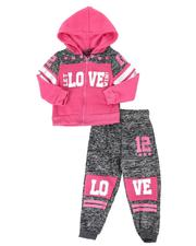 Girls - 2 Pc Marled Love Color Block Zip Front Hoodie & Jogger Pants Set (2T-4T)-2508528