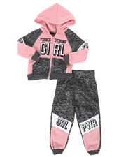 Girls - 2 Pc Marled Fierce Strong Girl Color Block Zip Front Hoodie & Jogger Pants Set (2T-4T)-2508536