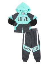 La Galleria - 2 Pc Love Color Block Zip Front Hoodie & Jogger Pants Set (2T-4T)-2508540