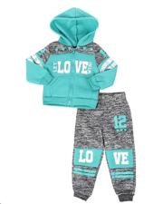 Girls - 2 Pc Marled Love Color Block Zip Front Hoodie & Jogger Pants Set (2T-4T)-2508544
