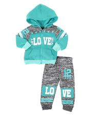 La Galleria - 2 Pc Marled Love Color Block Zip Front Hoodie & Jogger Pants Set (Infant)-2508548