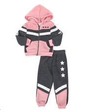La Galleria - 2 Pc Strong & Fierce Color Block Zip Front Hoodie & Jogger Pants Set (2T-4T)-2508552