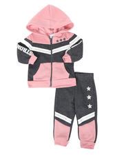 La Galleria - 2 Pc Strong & Fierce Color Block Zip Front Hoodie & Jogger Pants Set (Infant)-2508556