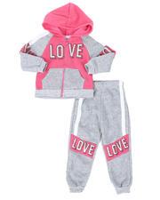 La Galleria - 2 Pc Love Color Block Zip Front Hoodie & Jogger Pants Set (2T-4T)-2508561