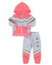 La Galleria - 2 Pc Strong & Fierce Color Block Zip Front Hoodie & Jogger Pants Set (Infant)-2508565