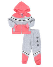 La Galleria - 2 Pc Strong & Fierce Color Block Zip Front Hoodie & Jogger Pants Set (2T-4T)-2508569