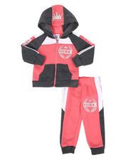 La Galleria - 2 Pc Queen Color Block Zip Front Hoodie & Jogger Pants Set (Infant)-2508577