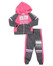 La Galleria - 2 Pc Girl Boss Color Block Zip Front Hoodie & Jogger Pants Set (2T-4T)-2508581