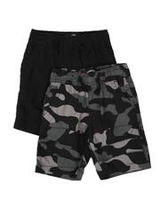 Arcade Styles - 2 Pack Pull On Twill Camo & Solid Shorts (2T-4T)-2509332