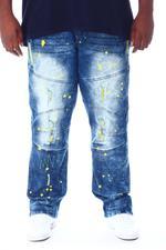 Buyers Picks - Ripped & Repaired Denim Pant W/Neon Backing & Paint Splatter (B&T)-2510152