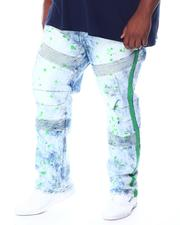 Big & Tall - Moto Denim Pant W/Rips & Neon Stripe + Paint Splatters (B&T)-2510177