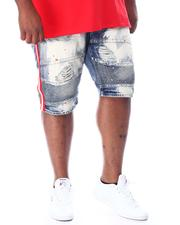 Big & Tall - Biker Shorts With Side Tape & Paint Splatter (B&T)-2510263