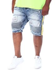 Big & Tall - Biker Shorts With Side Tape & Paint Splatter (B&T)-2510288
