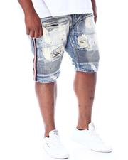Big & Tall - Biker Shorts With Side Tape & Paint Splatter (B&T)-2510393