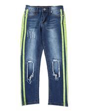 Boys - Stretch Rip & Tear Side Stripe Jeans (8-18)-2510071