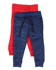 Arcade Styles - 2 Pack Marled & Solid Fleece Jogger Pants (2T-4T)-2509926