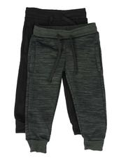 Arcade Styles - 2 Pack Marled & Solid Fleece Jogger Pants (2T-4T)-2509939