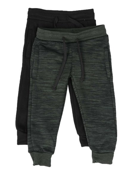 Arcade Styles - 2 Pack Marled & Solid Fleece Jogger Pants (2T-4T)