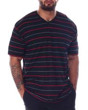 Shirts - Stripe 2 Tone V-Neck T-Shirt (B&T)-2512343