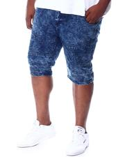 Big & Tall Faves - Washed Cut & Sew Moto Stretch Embossed Denim Shorts (B&T)-2511586