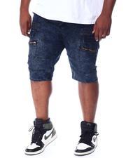 Buyers Picks - Washed Cut & Sew Moto Stretch Denim Shorts With Zipper & Flap (B&T)-2511606