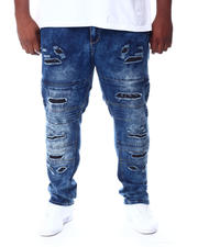 Big & Tall Faves - Washed Rip & Repair Moto Stretch Denim Pants (B&T)-2511924