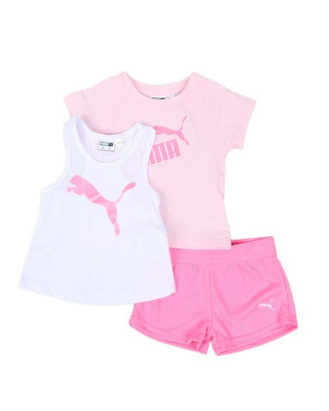 Puma - 3 Pc Logo Tee, Racerback Tank Top & Mesh Shorts Set (Infant)