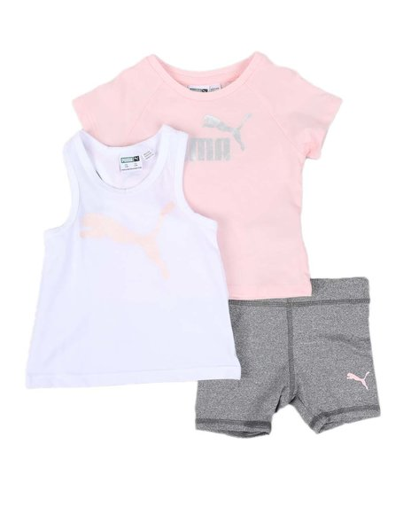 Puma - 3 Pc Logo Tee, Racerback Tank Top & Bike Shorts Set (Infant)