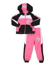 La Galleria - 2 Pc Queen Color Block Zip Front Hoodie & Jogger Pants Set (2T-4T)-2511260
