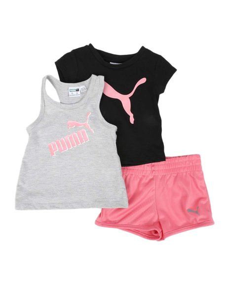 Puma - 3 Pc Logo Tee, Racerback Tank Top & Tricot Shorts Set (Infant)