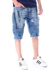 Men - MED BLUE Zip Denim Short-2512735