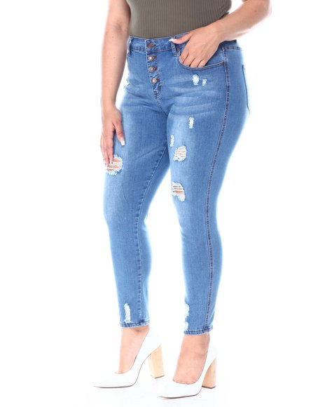 Fashion Lab - 5 Pocket High Rise Exposed Button Jean(Plus)