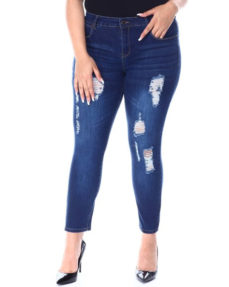 Fashion Lab - 5 Pocket Distressed Jean(Plus)