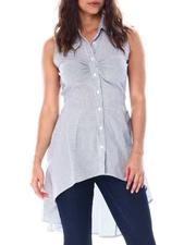 Fashion Tops - S/L high low shirred front tunic in yarn dyed stripe-2513347