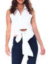 Women - S/L tie front maxi high low top poplin-2513372
