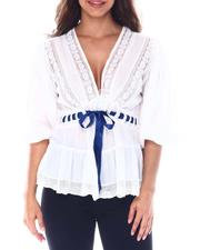 Fashion Tops - Crinkle lace inset top with contrast ribbon detail-2513416