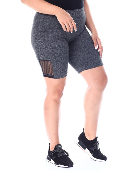 Fashion Lab - Yummy High Waist Bike Shorts w/Side Pockets & Mesh(Plus)