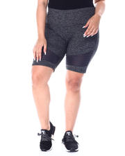 Plus Size - Yummy High Waist Bike Short w/Moto Panel Detail(Plus)-2513215