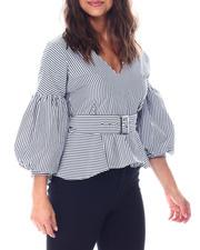 Short-Sleeve - Balloon sleeve v neck blouse with  self belt/hardware details-2513352