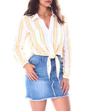 Going-Out-Outfits - 2 pocket tie front roll cuff sleeve  blouse-2513362