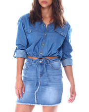 Going-Out-Outfits - V neck 2 pocket western denim shirt w/tie at waist roll tab sleeve details-2513397