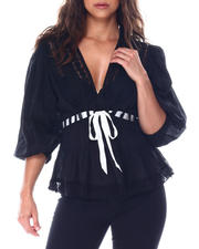 Going-Out-Outfits - Crinkle lace inset top with contrast ribbon detail-2513421