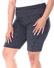 Plus Size - Yummy High Waist Bike Short w/Side Pocket(Plus)-2513224